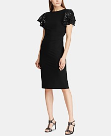 Lauren Ralph Lauren Petite Sequined Flutter-Sleeve Cocktail Dress