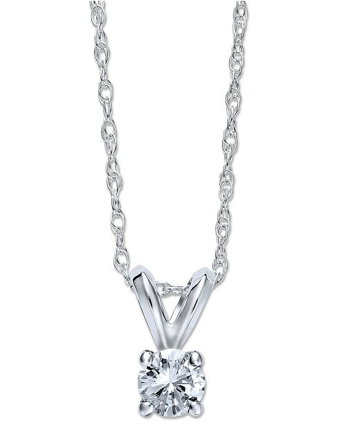 Macy's Round-Cut Diamond Pendant Necklace in 10k White or Yellow Gold (1/4 ct. t.w.)