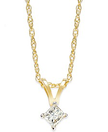Princess-Cut Diamond Pendant Necklace in 10k Yellow or White Gold (1/10 ct. t.w.)