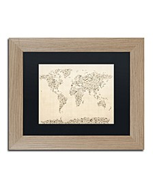 "Michael Tompsett 'Music Note World Map' Matted Framed Art - 11"" x 14"""