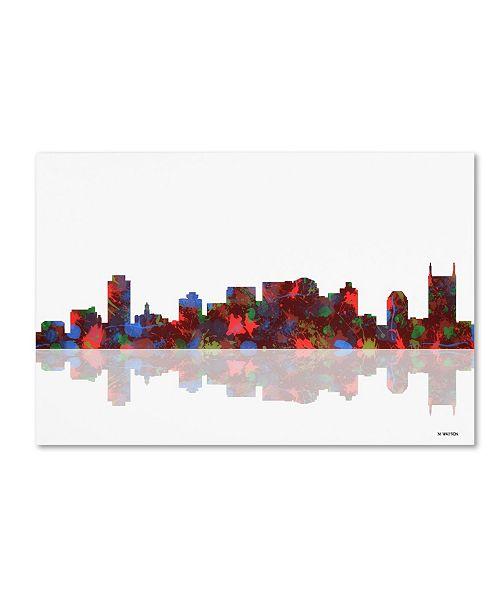 "Trademark Global Marlene Watson 'Nashville Tennessee Skyline' Canvas Art - 12"" x 19"""