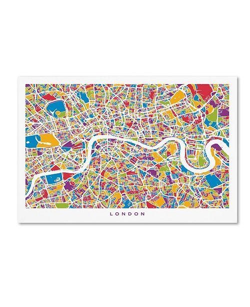 "Trademark Global Michael Tompsett 'London England Street Map' Canvas Art - 12"" x 19"""