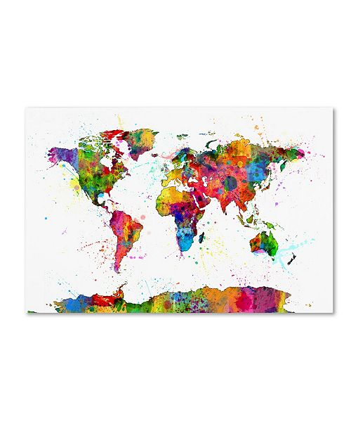 "Trademark Global Michael Tompsett 'Map of the World Watercolor' Canvas Art - 12"" x 19"""
