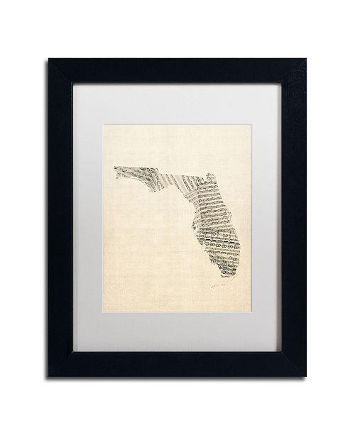"Trademark Global Michael Tompsett 'Old Sheet Music Map of Florida' Matted Framed Art - 11"" x 14"""