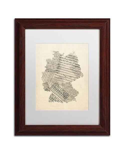 """Trademark Global Michael Tompsett 'Old Sheet Music Map of Germany' Matted Framed Art - 11"""" x 14"""""""