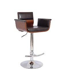 AC Pacific Bentwood Contemporary Modern Padded Bar Stool with Armrests and Cushion