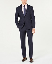 Men's Classic-Fit UltraFlex Stretch Navy Blue Plaid Suit Separates