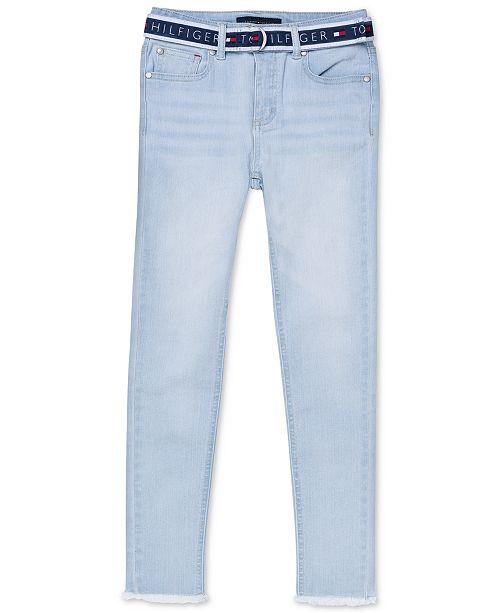 Tommy Hilfiger Big Girls Belted Skinny Ankle Jeans