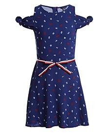 Big Girls Letter-Print Cold-Shoulder Dress
