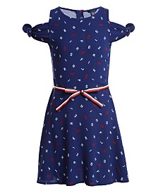 Tommy Hilfiger Big Girls Letter-Print Cold-Shoulder Dress