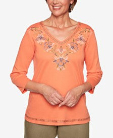 Alfred Dunner Lake Tahoe Embroidered Studded Top