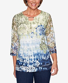 Lake Tahoe Printed Lace-Sleeve Top