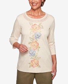 Alfred Dunner Lake Tahoe Studded Embroidered Top