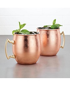 Ayesha Barware Set of 2 Copper Moscow Mule Mugs with Etched Diamond Pattern