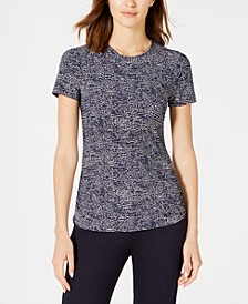 Pebble-Dot Short-Sleeve Top