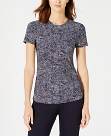 Anne Klein Pebble-Dot Short-Sleeve Top