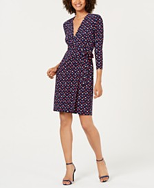 Anne Klein Faux-Wrap Printed A-Line Dress