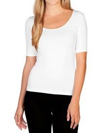 skinnytees Reversible 1/2 Sleeve Scoop Neck