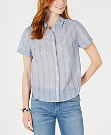 Cotton Striped Button-Up Top
