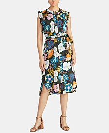 RACHEL Rachel Roy Ruffled Floral-Print Shirtdress