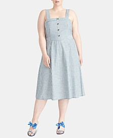 Plus Size Rylnne Cotton Striped Dress