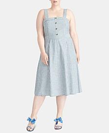 Plus Size Rylnne Cotton Striped Dress