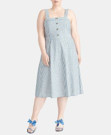 RACHEL Rachel Roy Plus Size Rylnne Cotton Striped Dress