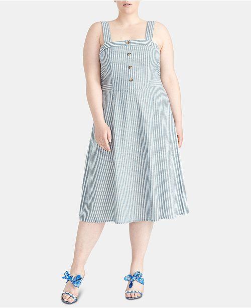 Rachel Roy Discount Gowns: RACHEL Rachel Roy Plus Size Rylnne Cotton Striped Dress