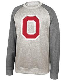 J America Men's Ohio State Buckeyes Tri-Blend Colorblocked Crew Sweatshirt