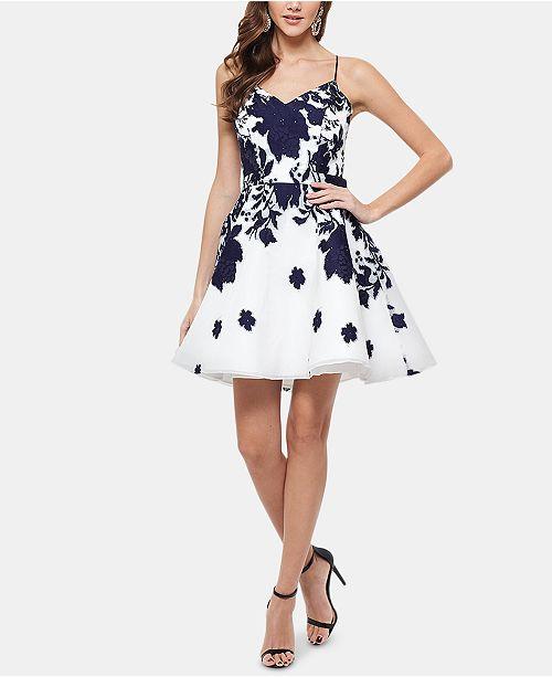 1701c9af XSCAPE Embellished Floral-Print Fit & Flare Dress & Reviews ...