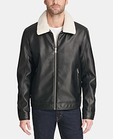 Men's Faux Leather Jacket with Removable Sherpa Collar