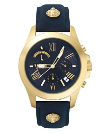 Versus Men's Blue Leather Strap Watch 22mm