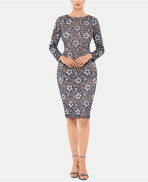 XSCAPE Floral Lace Sheath Dress