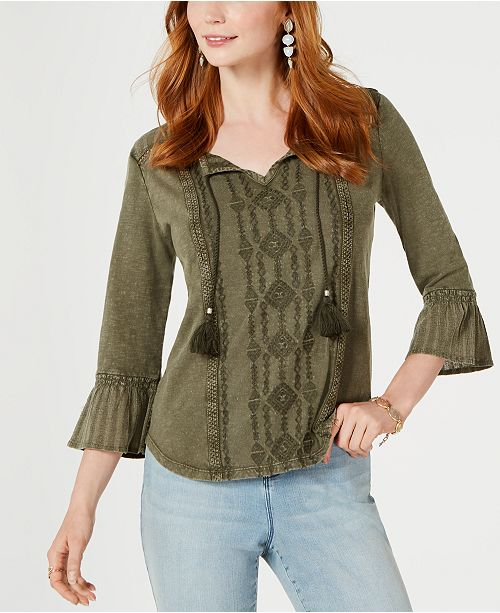 Style & Co Petite Embroidered Bell-Sleeve Cotton Top, Created for Macy's
