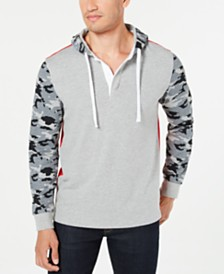 Club Room Men's Colorblocked Camouflage Hooded Rugby Sweatshirt, Created for Macy's