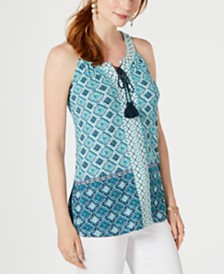 Style & Co Printed Tassel-Tie Top, Created for Macy's