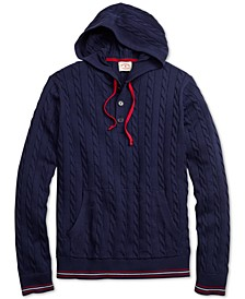 Men's Red Fleece Cable-Knit Hooded Henley Sweater