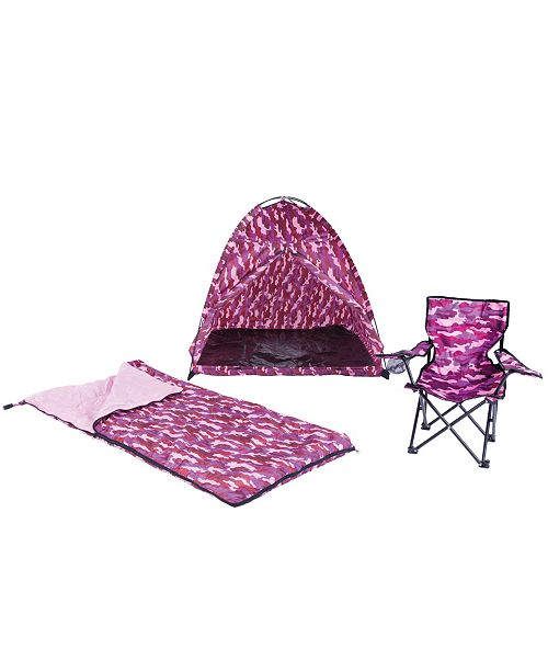 Pacific Play Tents Pink Camo Set - Tent,Chair, Sleeping Bag