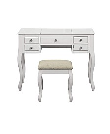 Vanity Set Featuring Stool And Mirror