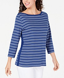 Cotton Striped Vented-Hem Top, Created for Macy's