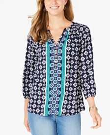 Charter Club Printed Split-Neck 3/4-Sleeve Top, Created for Macy's
