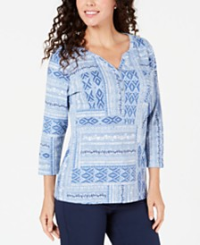 Karen Scott Petite Mixed-Motif Printed Top, Created for Macy's