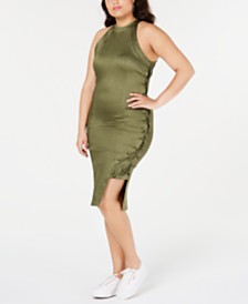 Lala Anthony Trendy Plus Size Lace-Up Bodycon Dress