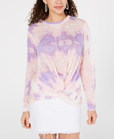 Say What? Juniors' Tie-Dye Twist-Front Top