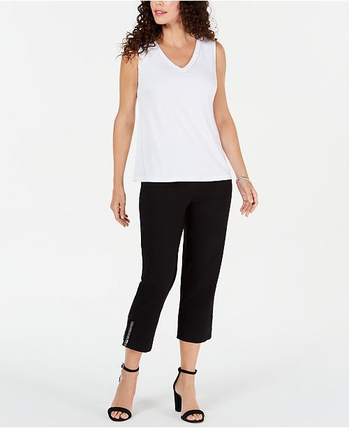 JM Collection Beaded Top & Ankle Pants, Created for Macy's