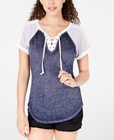 Crave Fame Juniors' Lace-Up Raglan T-Shirt