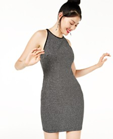 B Darlin Juniors' Zip-Back Glitter-Knit Dress, Created for Macy's