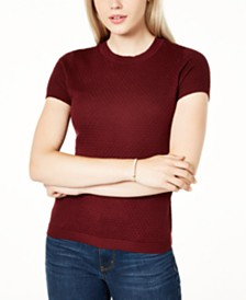 Maison Jules Short-Sleeve Crewneck Sweater, Created for Macy's