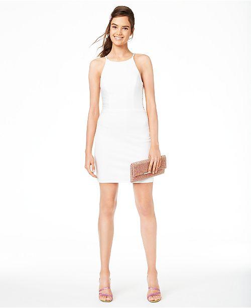 B Darlin Juniors' Halter Ladder-Side Dress, Created for Macy's