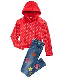 GUESS Big Girls Logo-Print Hoodie & Glitter-Print Jeans